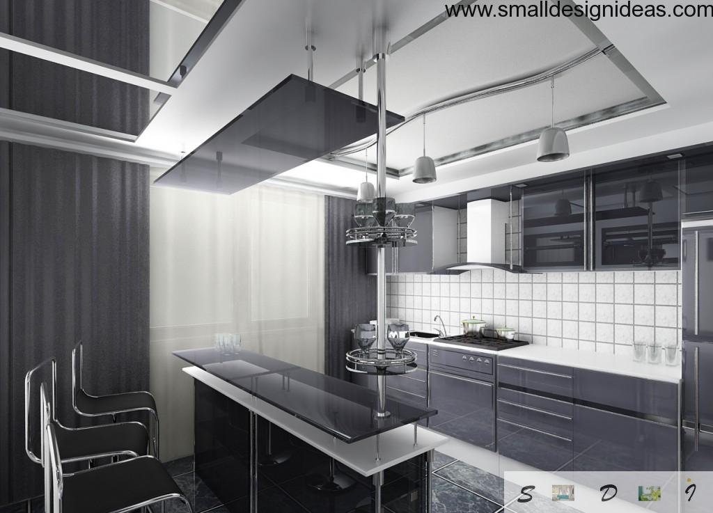 High-Tech Interior Style Overview. Kitchen for young vigorous family