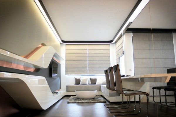 Style Futurism: unusual layout, form and unbound flight of fancy in real apartment