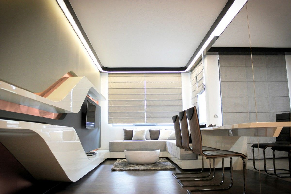 Style Futurism Unusual Layout Form And Unbound Flight Of Fancy In Real Apartment