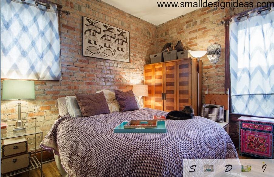 Bright brickwork bedroom design with colorful harmony