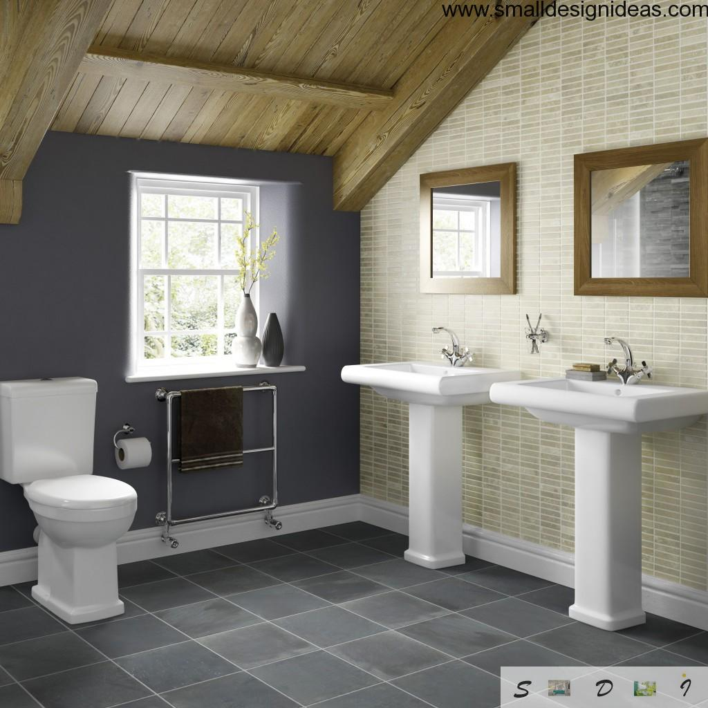Wooden roof and warm colored tile in the country house bathroom
