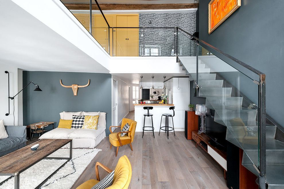 maisonette design. Two-Level Apartment in Loft Style