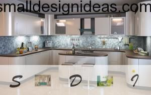 Large island shaped kitchen in hi-tech style