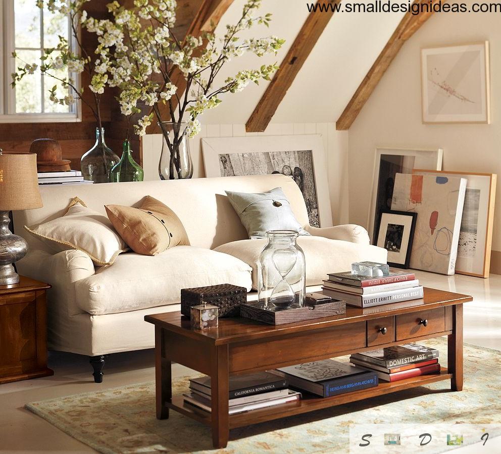 English Interior Design Style in the attic living room