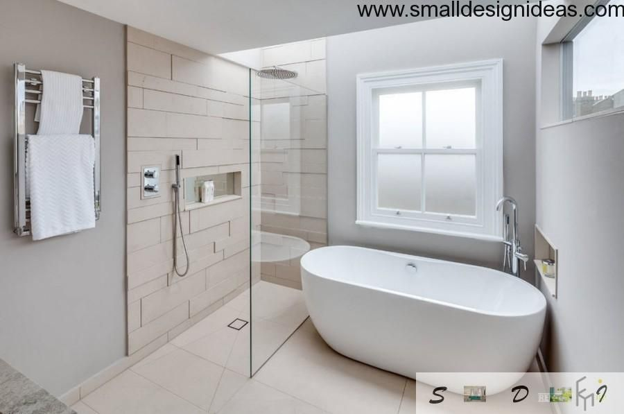 Contemporary English Style House Interior bathtub and shower cab in the bath