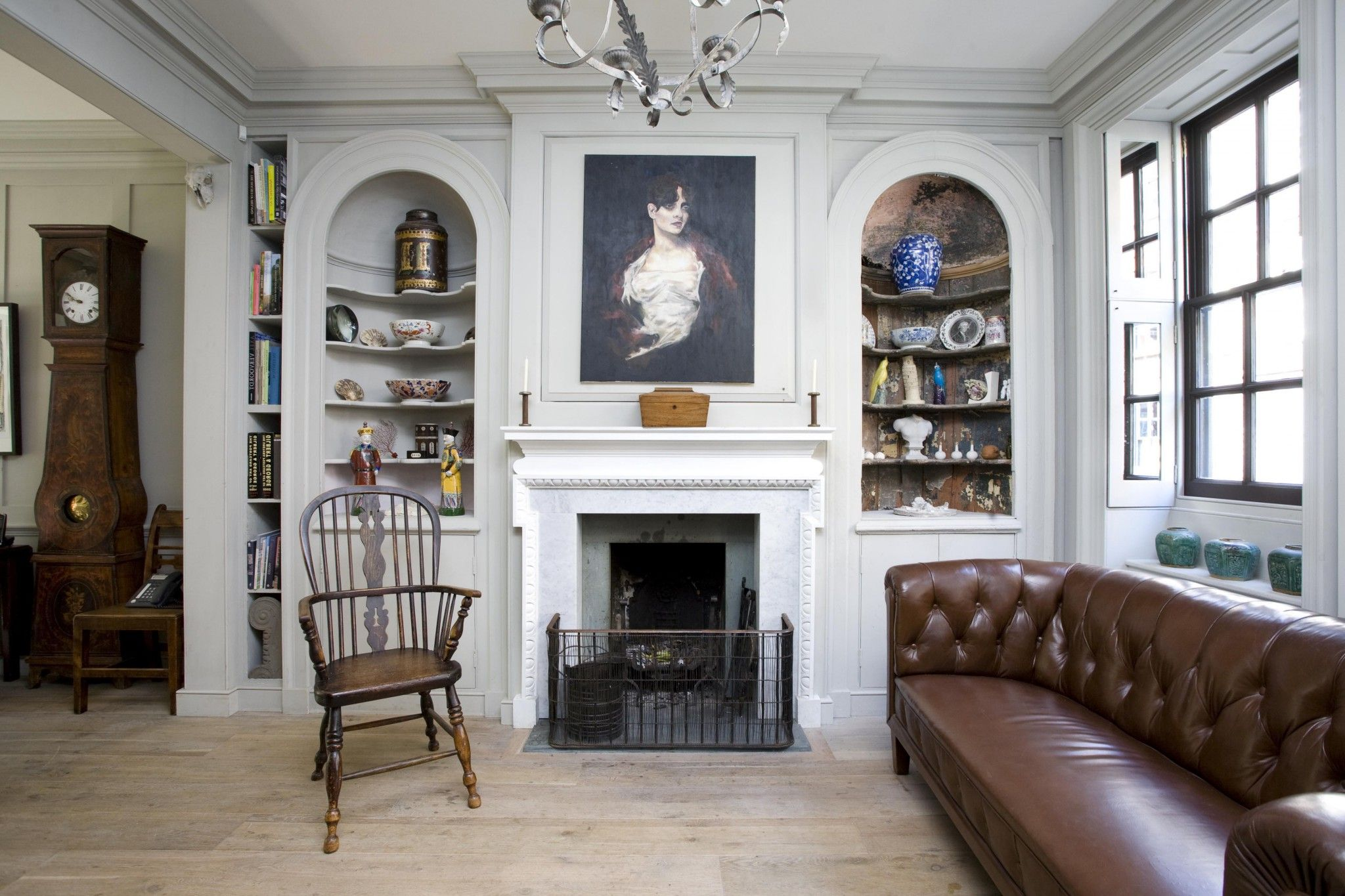 contemporary english style house interior fireplace as the focal