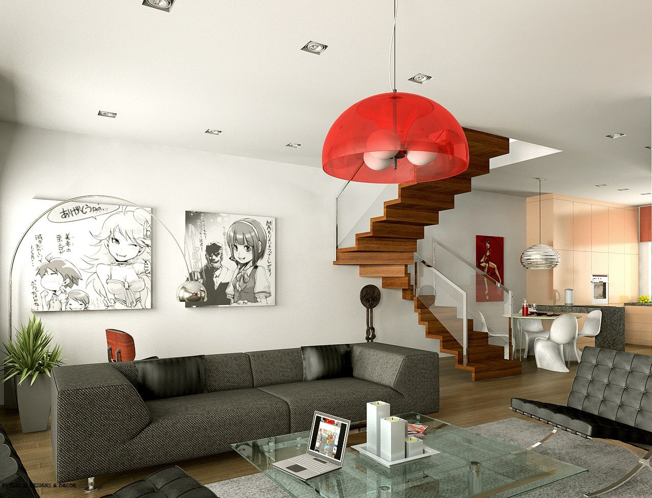 Futuristic Living Room In The Maisonette Apartment With Red Chandelier And Ultramodern Chair Forms