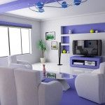 Futuristic purple living room