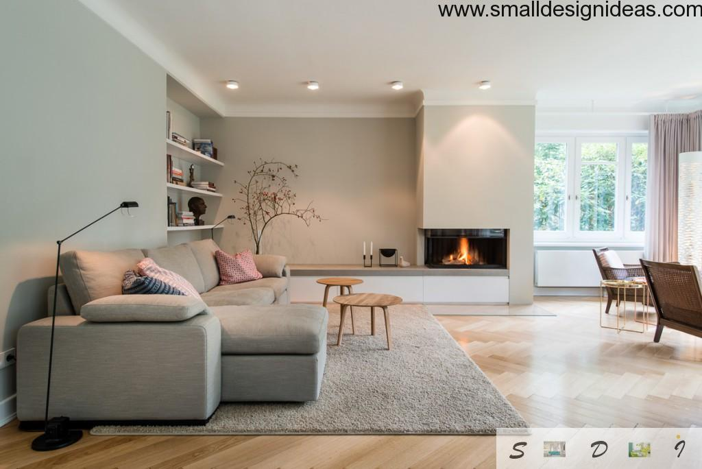 Minimalistic light design with fireplace and rest zone