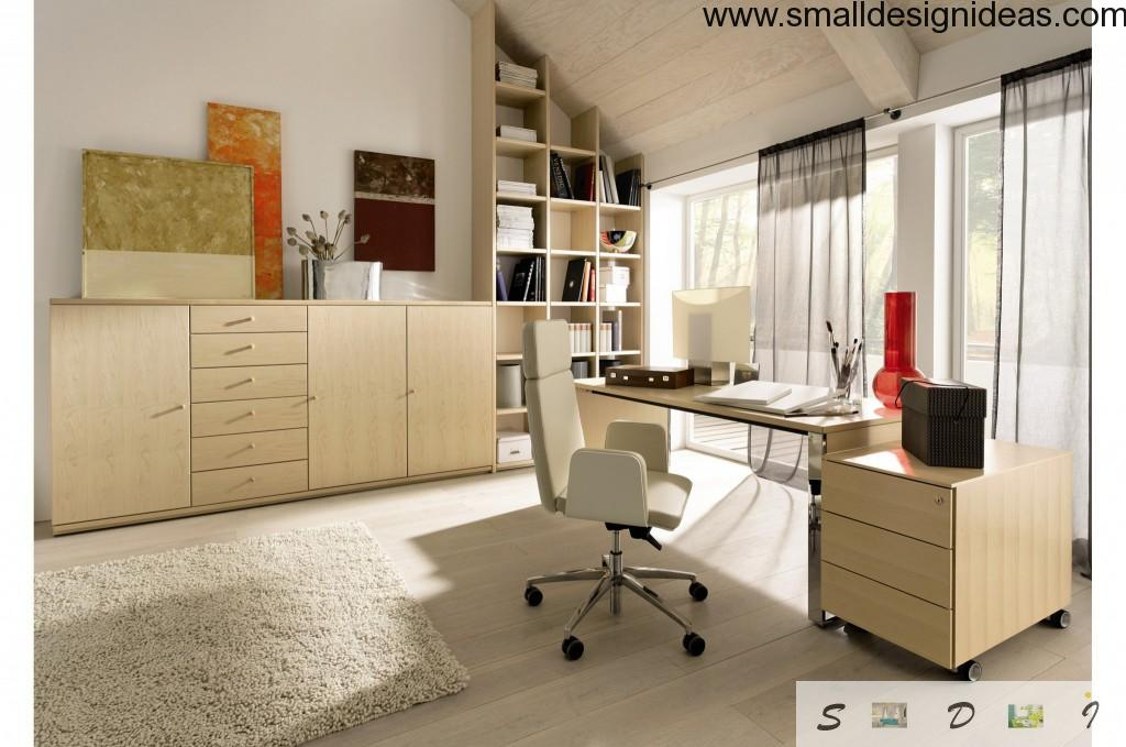 Bright colors and much natural light in the home office design