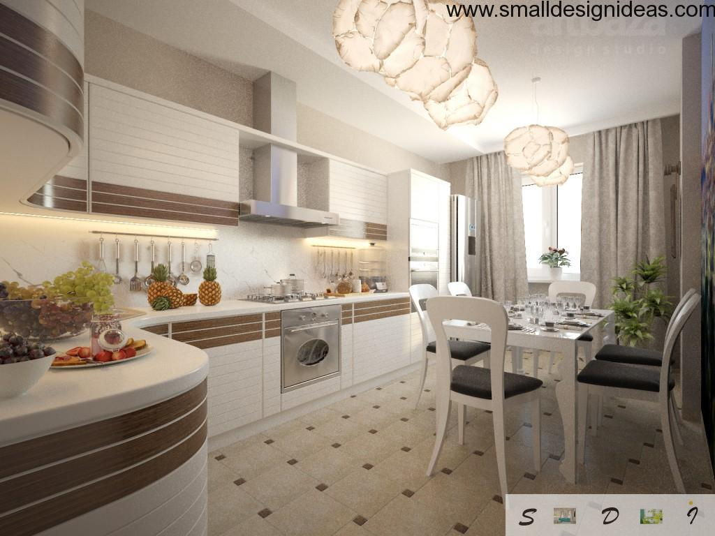 Nice light tones in the kitchen design of small space