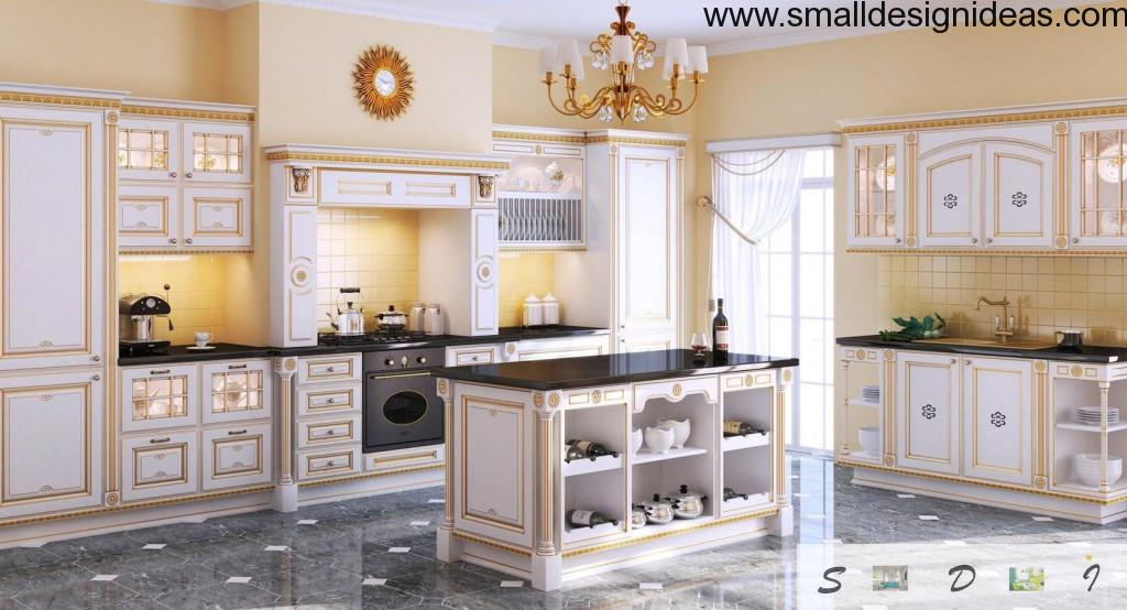 Light English Interior of the bright island kitchen