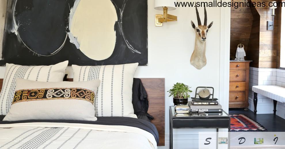 Animalistic design in light designed bedroom