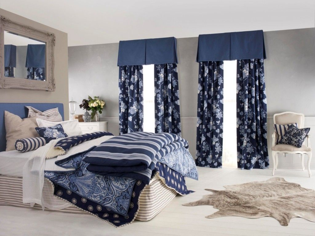 Bedroom In Nautical Style U2013 It Is A Custom Picture With The Image Of Sea  Landscape, Blue Or Blue White Color Scheme, Wooden Or Wrought Iron Bed, ...
