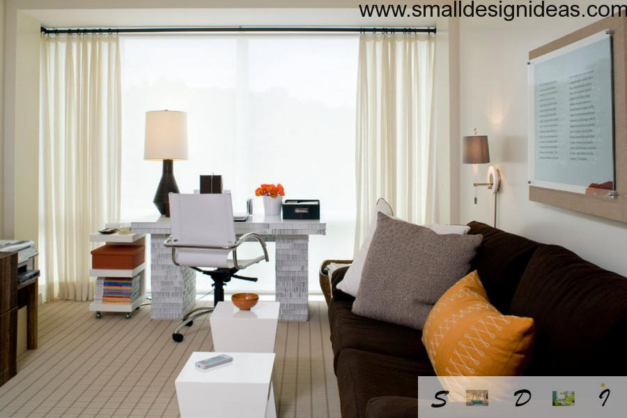 White tones and fabric furniture in the home office