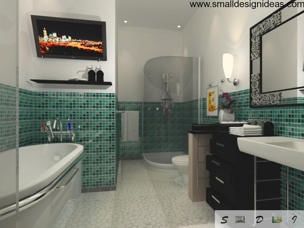 Turquoise mosaic tile in the bathroom interior
