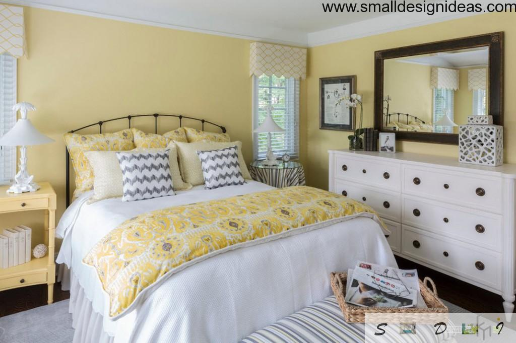 Marine Interior Design Style for Country House. Yellow decorated bedroom