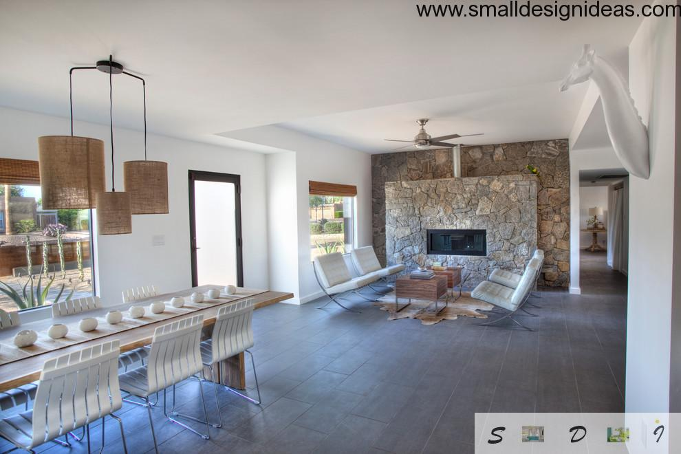 Modern living room gallery design with stone and wood