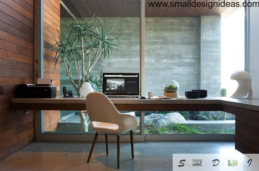 Verdure in the working area is the Modern style element