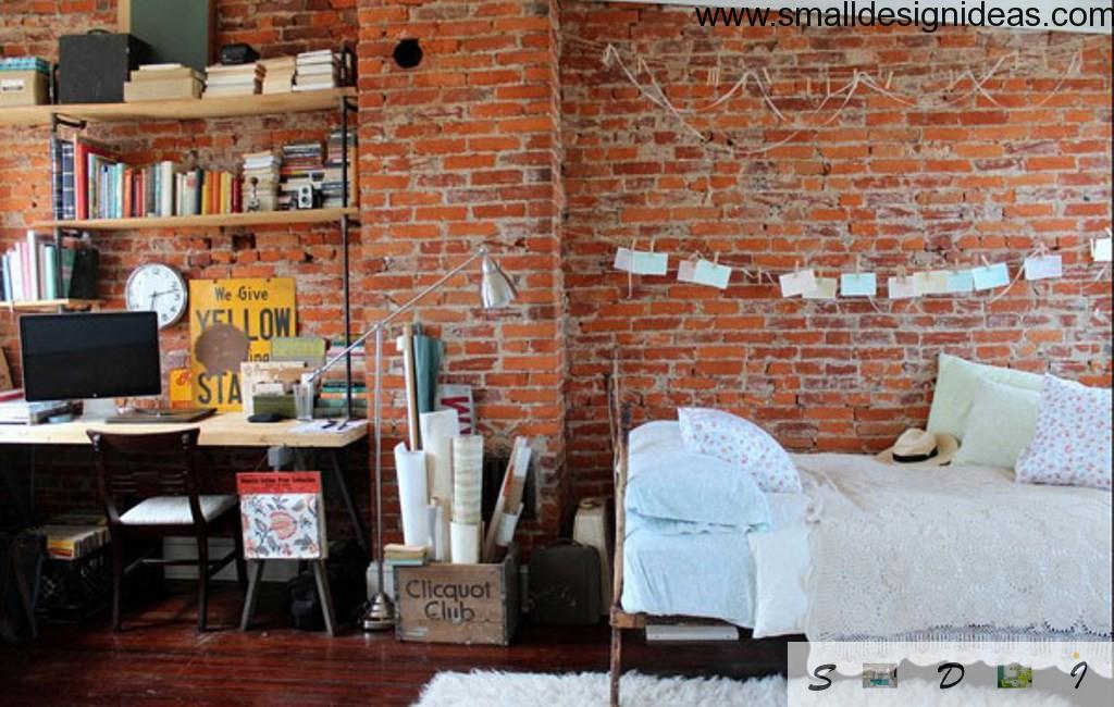 Totally bricked design of bedroom in comtrast of white linen