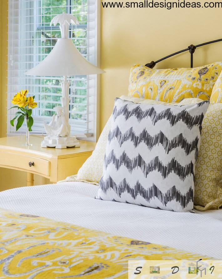 Yellow upholstery on the bed