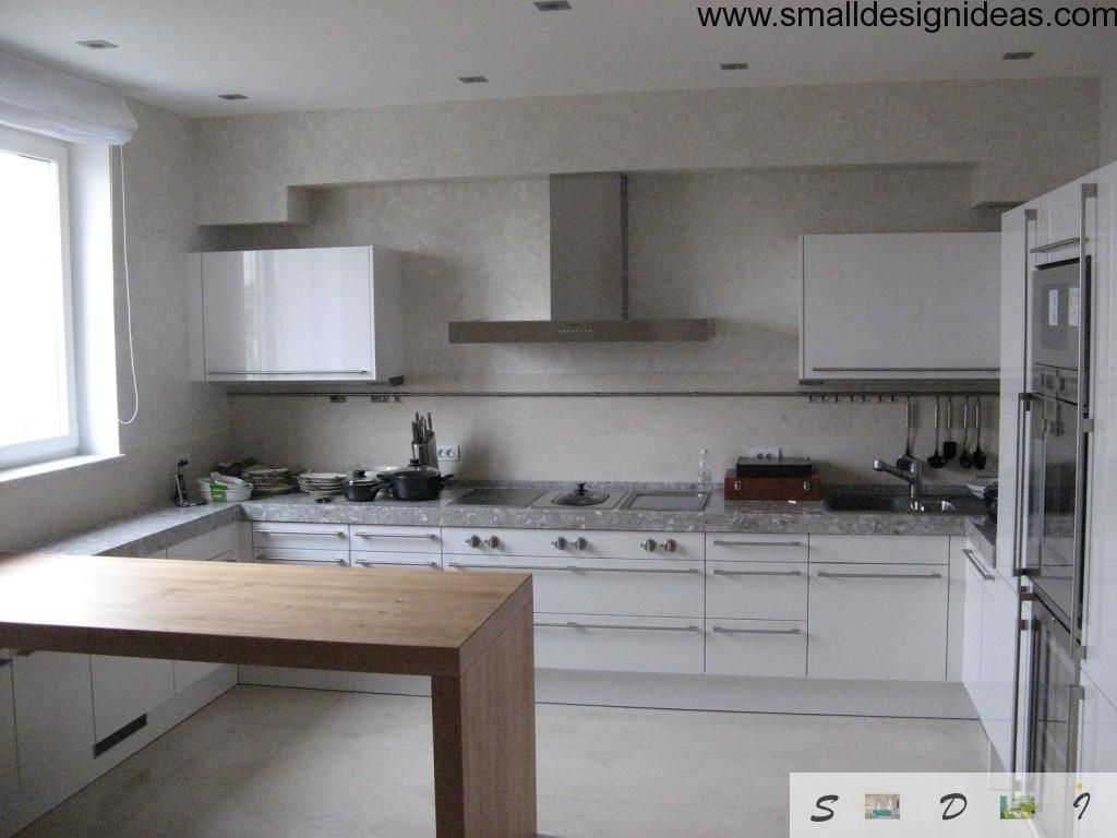 Kitchen in minimalistic style and white tones