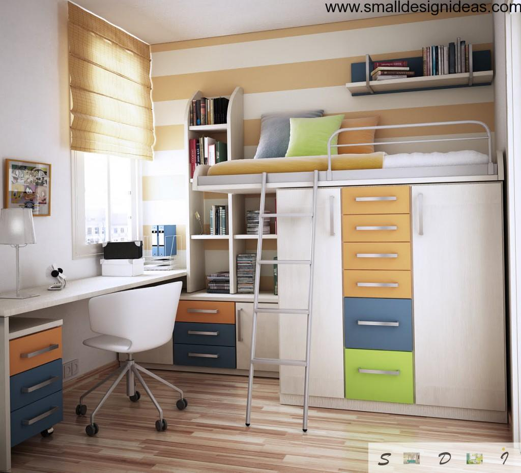 Modern children rooms design with bed with drawers