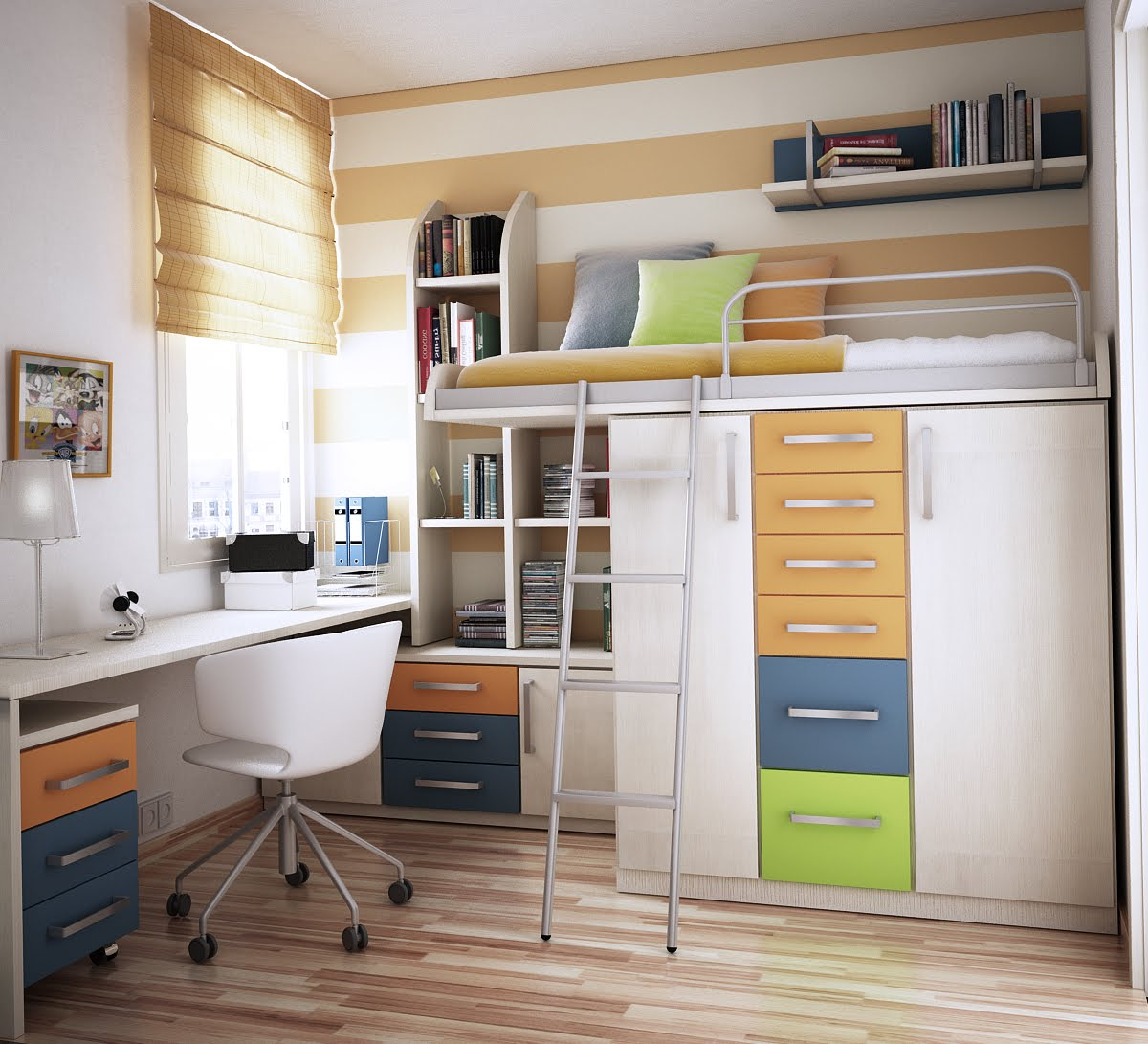 Loft Bed With Closet Underneath: Bed With Drawers. Modern Design
