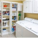 Laundry Room Interior. Main Decoration Features with cabinets and vertical washing machines in the tiny room