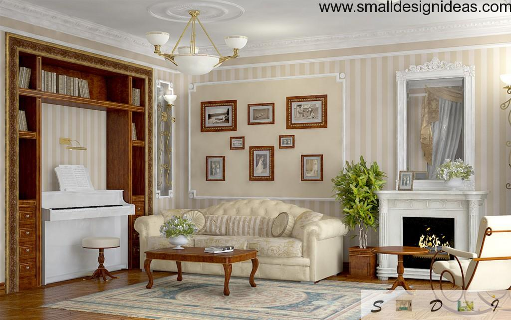 Feminine English style concept with light colors and gilted decoration elements