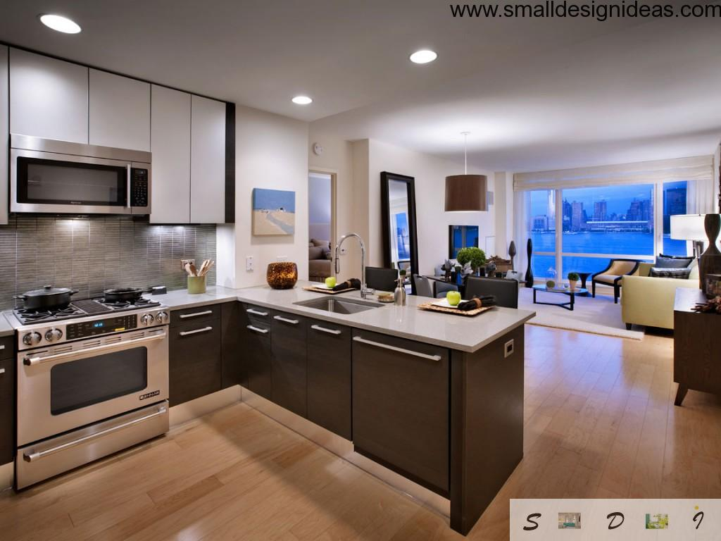 Kitchen design according to all standards of hi-tech style