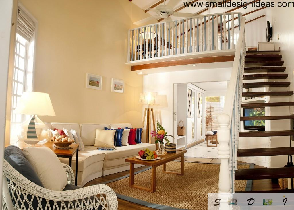 Dark and white contrasting staircase in the countryside living room
