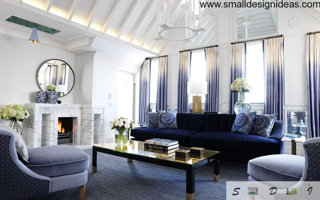 Marine Style Interior Design of the living room with high multitiered ceiling