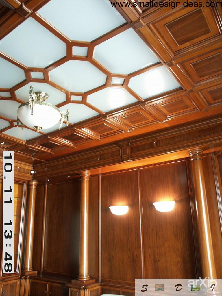 English style coffered wooden ceiling