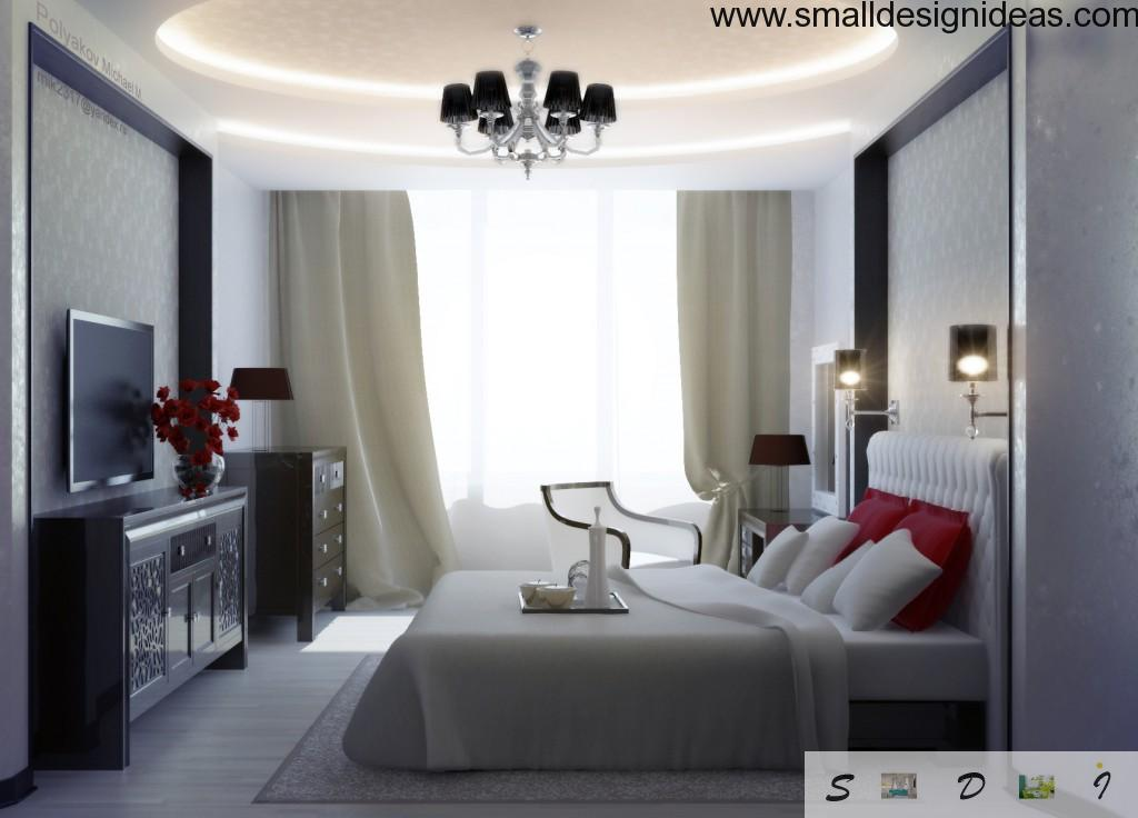 Bold contrasting bedroom design of different colors