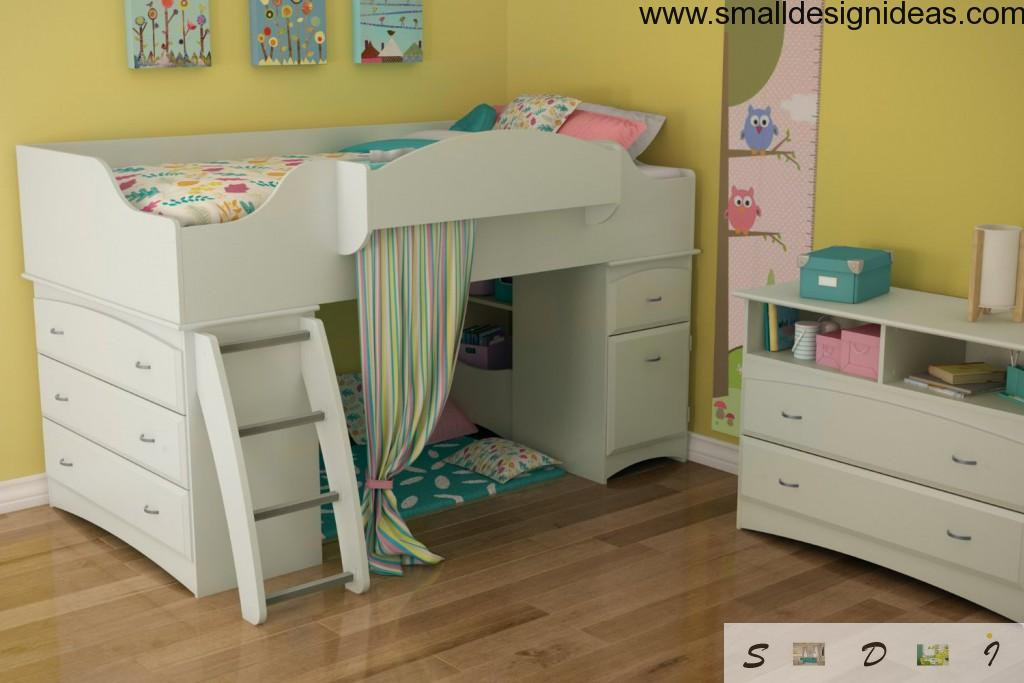 Multifunctional children room with bed with built-in drawers
