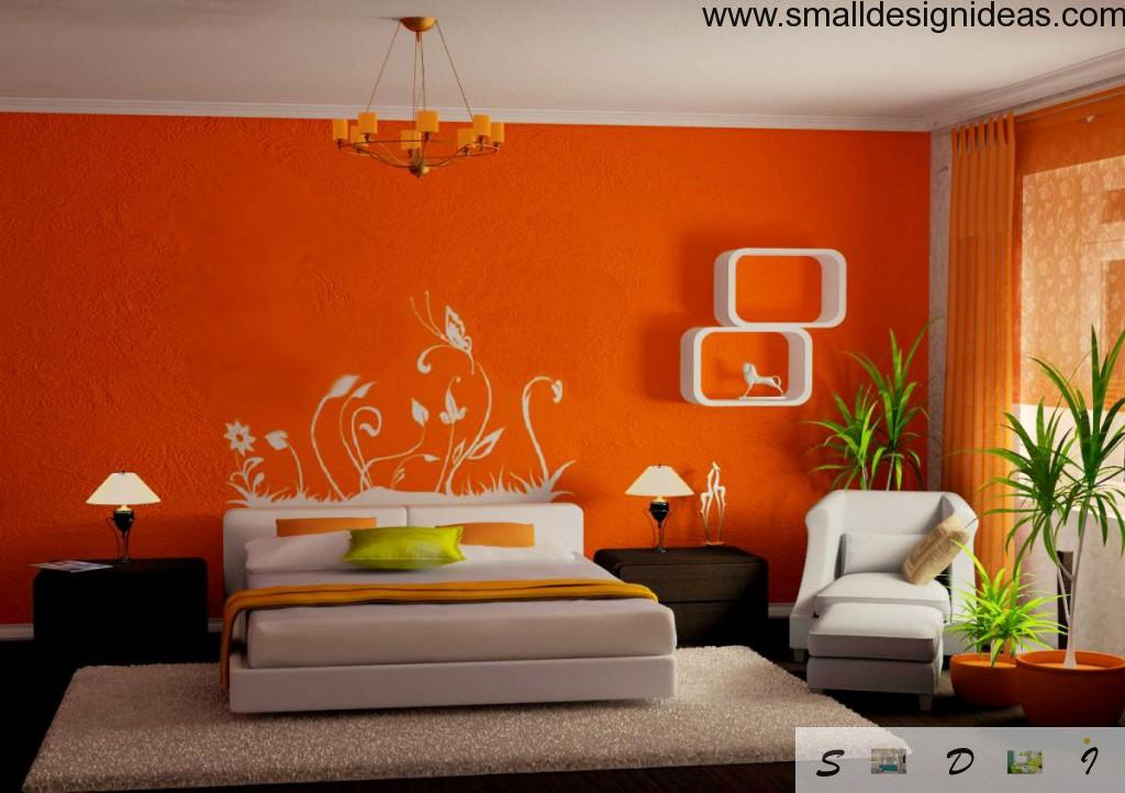 Appetite orange bedroom design with wall painting