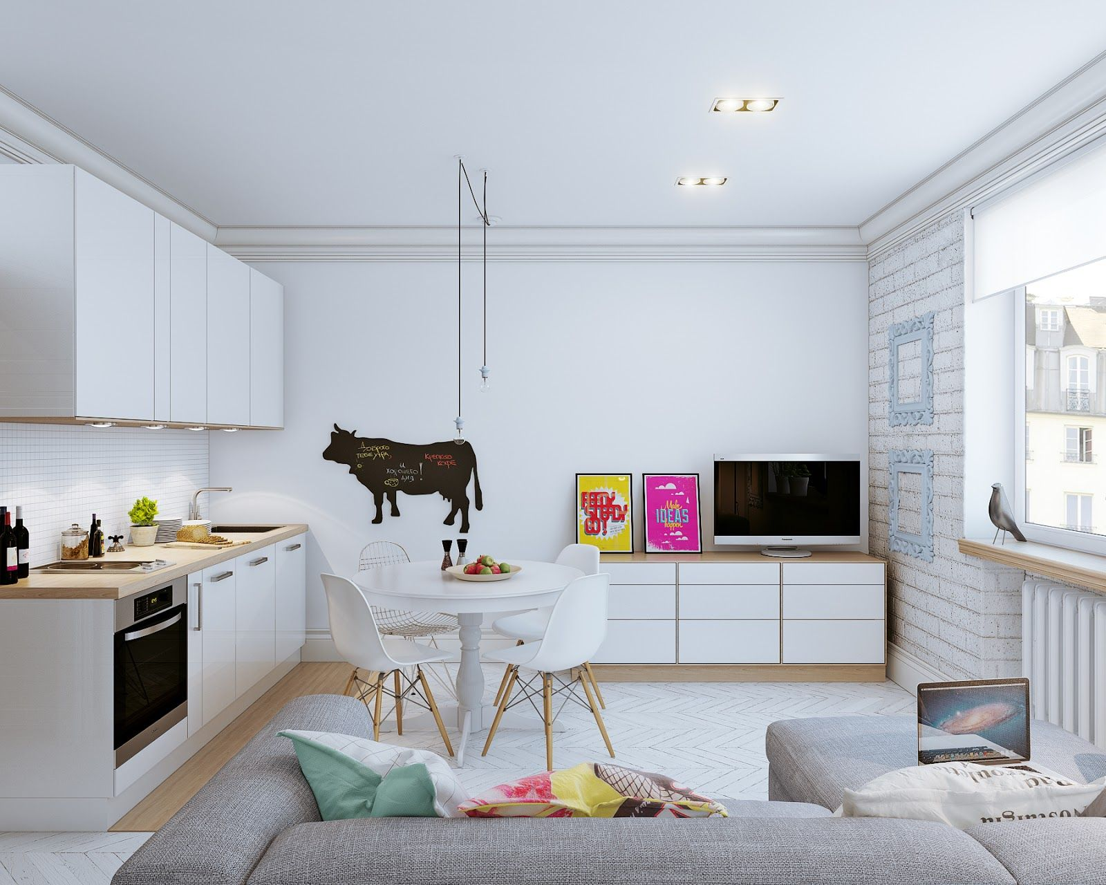 Bright scandinavian style in a modern apartment home interior design - Bright Spot In The Scandinavian Interior Design Style Of The Modern Kitchen