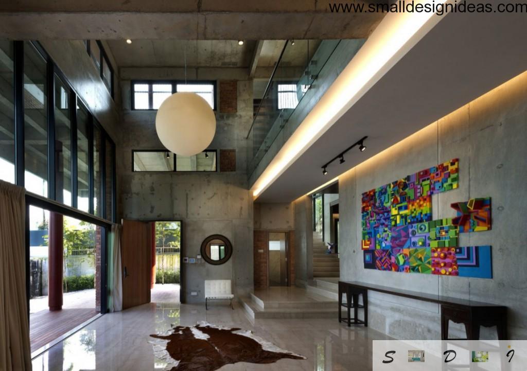 Unique suburban futuristic lunar design. Living room os the private house