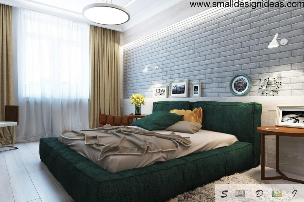 Contrasting bed in deep gray bedroom color