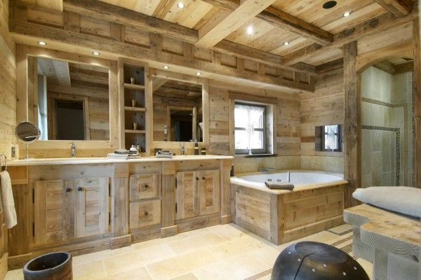 Wooden trim in country house bathroom