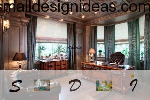 Luxurious wooden table and leather classic armchairs in the home cabinet