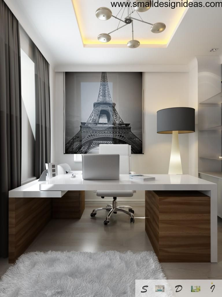 White cabinet design with leather armchair