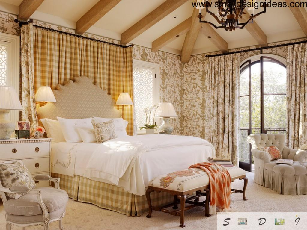 English style in country house`s bedroom in light colors