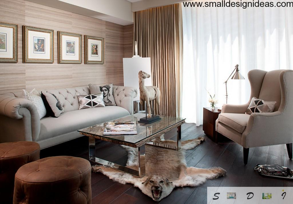 English style concept and materials in the modern apartment interior