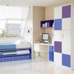 Another blue themed children room with transforming bed with drawers