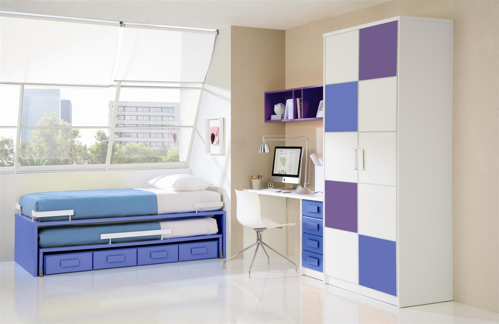 features of arrangement of furniture in the nursery. bed with drawers modern design