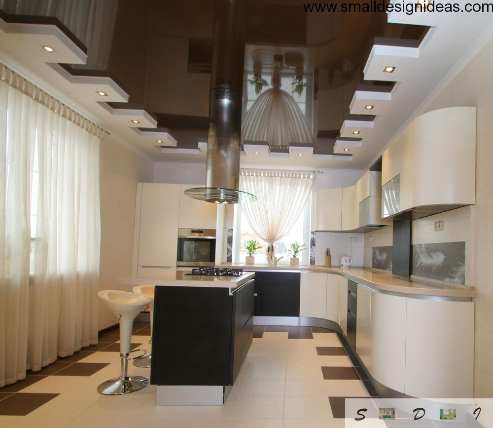 Contrasting floor and ceiling creates a marvelous and stunning composition in the kitchen