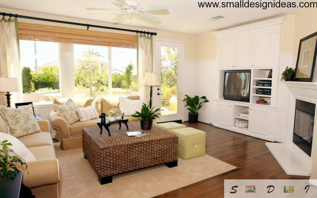 rattan square table in the casual style living room in a white tines with flowers and TV-set