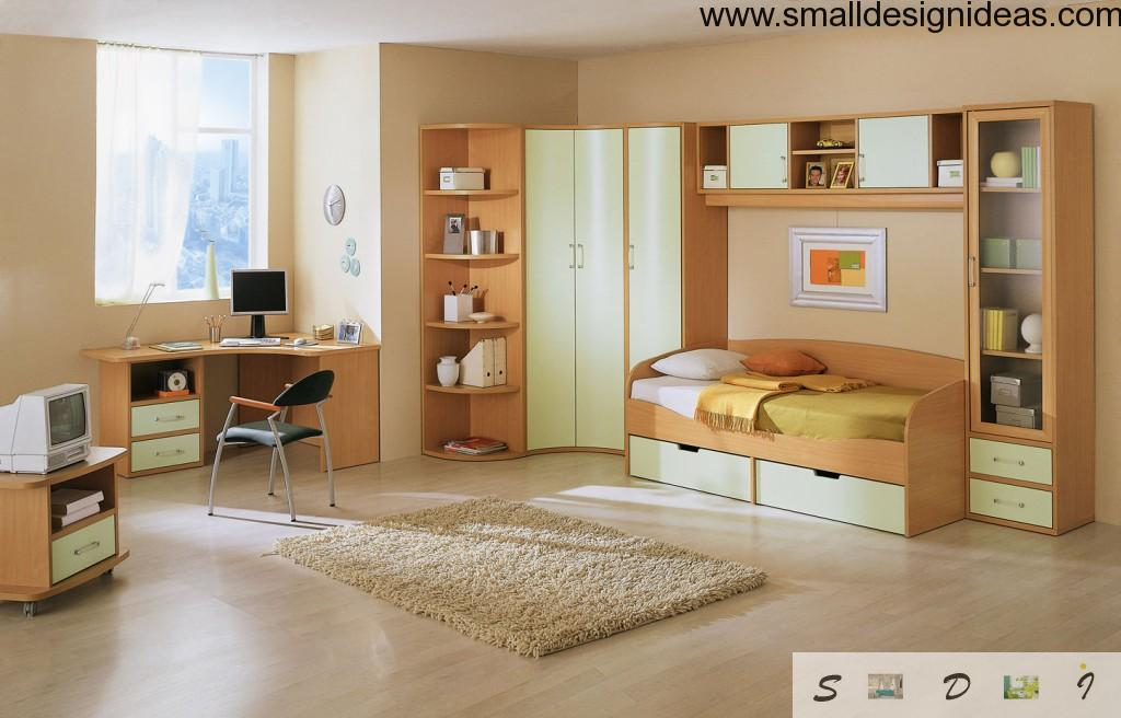 Beds with drawers. Modern design in the children room